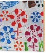 Flower Face Murial Wood Print