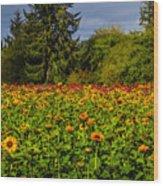 Flower Farm Wood Print