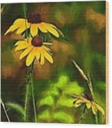 Flower Friends Wood Print