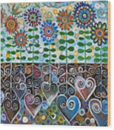 Flower Garden Blues Wood Print