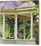 Flower Garden Chair Wood Print