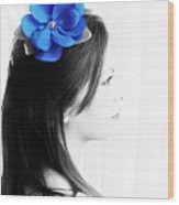 Flower Girl Blue Selective Colour Wood Print