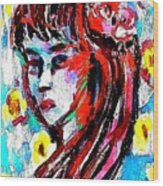 Flower Girl Portrait  Wood Print