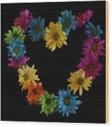 Flower Heart Wood Print