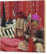 Flower Hmong Fabric Stall Wood Print