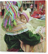 Flower Hmong Mother And Baby 02 Wood Print