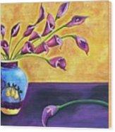 Flowers In Blue Vase Wood Print
