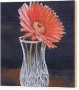 Flower In Crystal Vase Wood Print