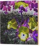Flower Like Purple And Yellow Wood Print