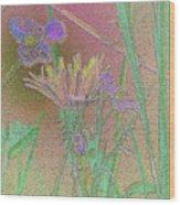 Flower Meadow Line Wood Print