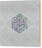 Flower Of Life Abalone Shell On Pearl Wood Print