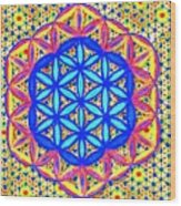 Flower Of Life Fractle Wood Print