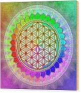 Flower Of Live - Rainbow Lotus 2 Wood Print