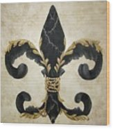 Flower Of New Orleans Black And Gold Wood Print