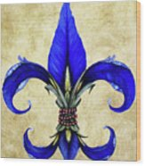 Flower Of New Orleans Blue Iris Wood Print