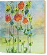 Flower Patch With Butterfly Wood Print