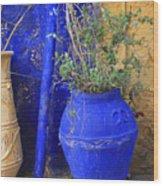Flower Pots In Crete Wood Print