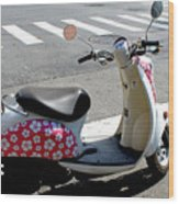 Flower Power For A Montreal Motor Scooter Wood Print