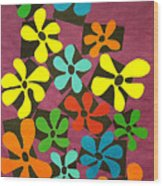 Flower Power Wood Print by Teddy Campagna