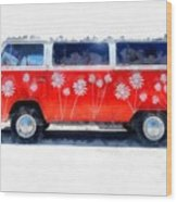 Flower Power Van Wood Print