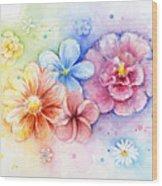 Flower Power Watercolor Wood Print