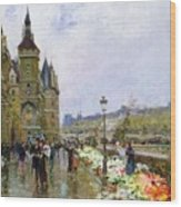 Flower Sellers By The Seine Wood Print
