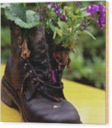 Flower Shoe Pot Wood Print