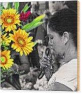 Flower Stall Wood Print