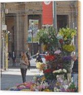Flower Stand In Milan Wood Print