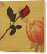 Flower Talk With Wallpaper Wood Print