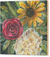 Flower Trio Wood Print