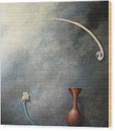 Flower, Vase And Bird 2 Wood Print