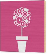 Flower Vase On Magenta Wood Print