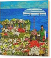 Flower Vendor In Sea Point Wood Print