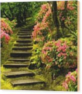 Flower Walk Wood Print