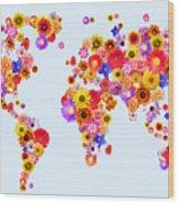 Flower World Map Wood Print