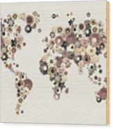 Flower World Map Sepia Wood Print