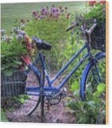 Flowered Bicycle Wood Print