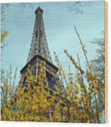Flowered Eiffel Tower Wood Print