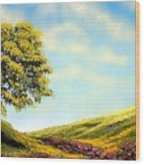 Flowered Fields Wood Print