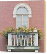 Flowered Italian Balcony Wood Print
