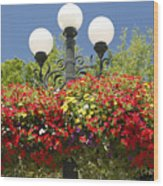 Flowered Lamppost Wood Print