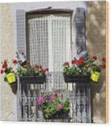 Flowered Window Wood Print