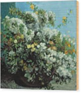 Flowering Branches And Flowers Wood Print