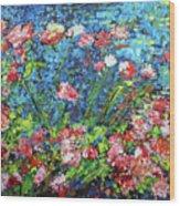 Flowering Shrub In Pink On Bright Blue 201676 Wood Print