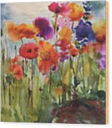 Wildflower Trail Wood Print