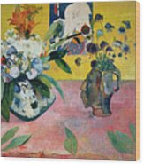 Flowers And A Japanese Print Wood Print by Paul Gauguin