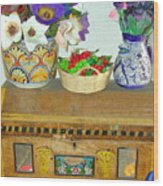 Flowers And Antique Chest Wood Print
