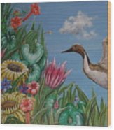 Flowers And Bird By The Sea Wood Print