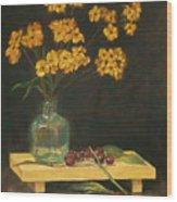 Flowers And Cherries Wood Print